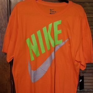 Nike retro shirt men's large Orange neon Grey NEW